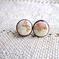 Whole Wide World Vintage World Map Stud Earrings by bloomyjewelry
