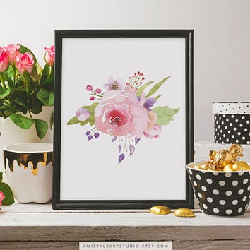 Wall Art Print, Rose Bouquet, Botanical Print, Floral Print, Bedroom Decor,Feminine Art,Floral Poster,Home Sign,Watercolor Flowers,Art Print