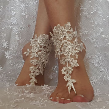 ivory silver cord lace barefoot sandal beach wedding bridal barefoot sandals