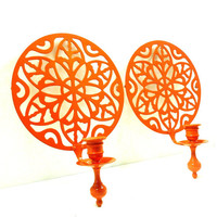bohemian wall sconces  //  tangerine orange home decor, upcycled metal, victorian regency candle holders, wall hangings