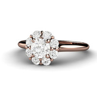 Diamond Engagement Ring 14K Rose Gold Halo Flower Cluster Wedding Ring Custom Conflict Free