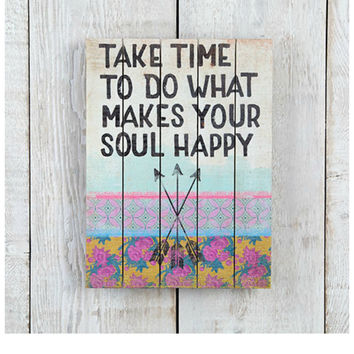 Natural Life Slatted Sign - Happy Soul