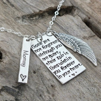 Memorial Necklace Sympathy Gift For Loss Of Loved One | Angel Wing Necklace Remembrance Jewelry