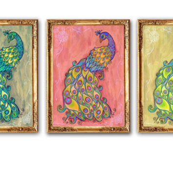 Modern Floral Art PRINT, Golden Pink Wall Art Decor, Set of 3 Peacock Prints, Peacock Art painting, Kids Room Wall Decor, Living room art