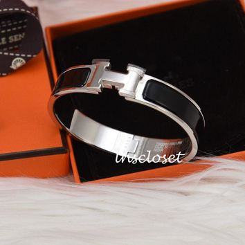 BNIB NEW HERMES CLIC H CLAC ENAMEL BANGLE BRACELET BLACK SILVER PLATED PM
