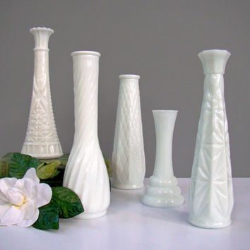 Milk Glass Wedding Vases, Wedding Decoration, Flower Vase, Rustic, Vintage Inspired Wedding, Wedding Table Setting, Bud Vase
