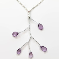 Amethyst color bead and wire necklace wire necklace silver necklace girlfriend necklace branch necklace tree necklace nature necklace