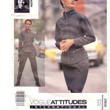 Vintage Vogue 2802, Attitudes International, Designer Lancon, Skirt, Jacket, Pants, Size 8, 10, 12