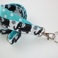 Fabric Lanyard / ID Holder with key ring - black elephants with white dots aqua - lobster claw clasp and key ring