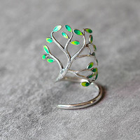 Green Leaf Tree Branch Ring, Sterling Silver Leaf Ring, Twig Ring, Tree Ring, Adjustable ring, Enamel ring, leaf jewelry ,gift for her