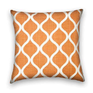 Chenille Decorative Pillow Cover---20 x 20 Transitional Throw Pillow-- Orange on White