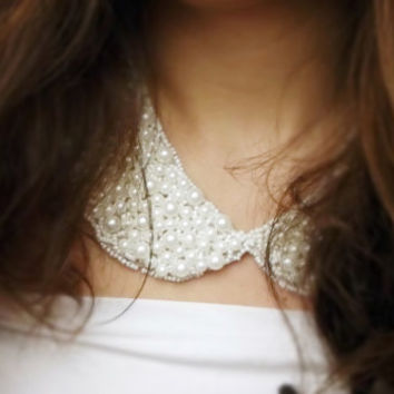 White Pearl Collar Necklace, Peter Pan Collar Necklace, Handsewn, Detachable Colllar