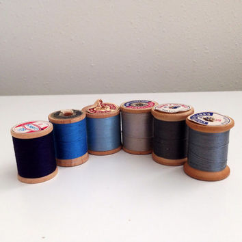 Vintage sewing thread lot of 6 wooden spools in blues and greys