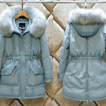 S-2XL Women Fashion Real Big Fur Hooded Winter Thick Warm Jacket Down Coat Parkas Ladies 90% White Duck Slim Outcoat Outerwear