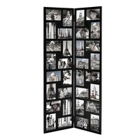 Adeco Black Wood Hinged Folding Screen-Style Collage Picture Photo Frame 32 Openings, 4x6""