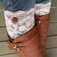 Floral Chamagne Lace boot cuff accessories with cute buttons