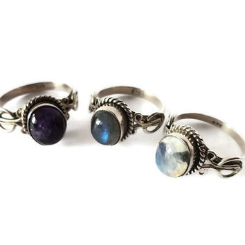 Sea Nymphs rings with real Amethyst,Labradorite and Moonstones cabochon.Moonstone ring.Amethyst ring,Labradorite ring.