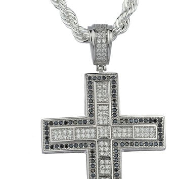 Real 925 Sterling Silver Cubic Zirconia Stone Cross Pendant with a 24 Inch Brass Rope Chain Necklace