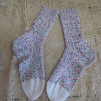 Ready to ship/ Blueberry and rasberry Handknitted Socks