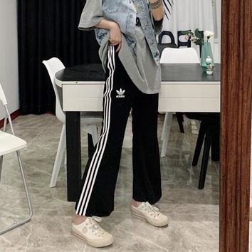 """""""Adidas"""" Unisex Casual Letter All-match Stripe Pocket Sweatpants Couple Bell-bottomed Pants Leisure Pants Trousers"""
