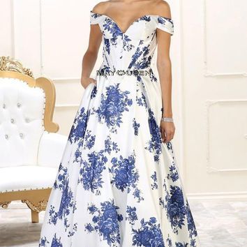 Off the shoulders floral prom dress     RQ7500 - CLOSEOUT