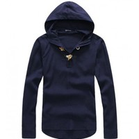 The Summer Nights Hooded Shirt Navy - leatherandcotton