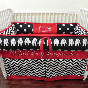 Custom Baby Bedding Set Payton w/ Black and by BabyBeddingbyJBD