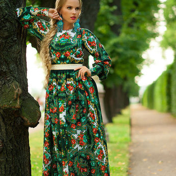 Floral Maxi Dress, long summer dress, Green gypsy Dress, bohemian dress, boho dress, Special occasion dress, Russian dress pavlovo posad
