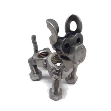 Scrap Metal Firm Eared Dog Figurine, Steel Canine, Nuts and Bolts Puppy Sculpture
