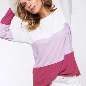 Lavender and Magenta Colorblock Top