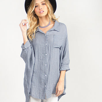 Soft Oversized Button Up Top