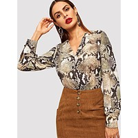 Snake Print Single Breasted Blouse
