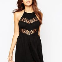ASOS 90's Halter Playsuit with Lace Inserts