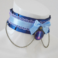 Lolita collar - Positive energy -  navy dark and pastel blue - costume cosplay - ddlg princess kitten play petplay choker with chain