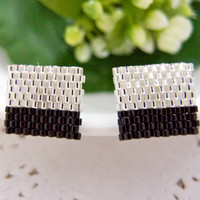 Silver Black Color Block Ear Studs Beaded Square by JeannieRichard