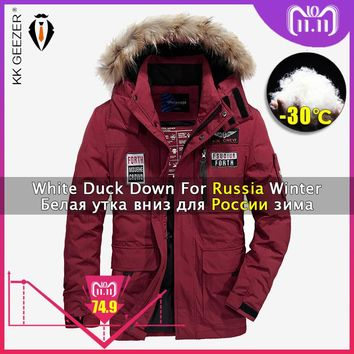 Winter Jacket Down Men Padded Big Size Polyester Hooded Warm Thick Clothing Brands 2018 Coats Parka Light 80% White Duck Jackets