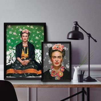 Cuadros Frida Floral Style Wall art Poster Nordic Canvas Painting Posters and Prints Picture For Living Room Self Portrait