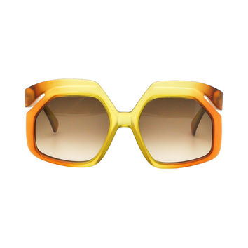 Christian Dior Vintage 1970s Yellow & Orange Ombre Sunglasses 2006
