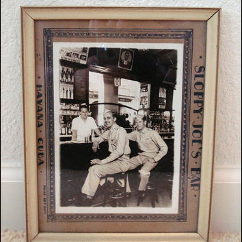 Sloppy Joe's Bar World War II Black and White Framed Photo of US Air Force Servicemen