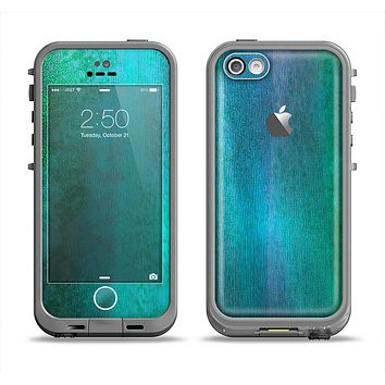 The Vivid Green Watercolor Panel Apple iPhone 5c LifeProof Fre Case Skin Set