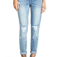 Junior Women's Dollhouse Destroyed Patched Jeans ,