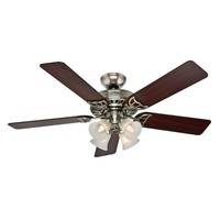 Hunter Studio Series 52 In. Ceiling Fan Light Kit In Brushed Nickel With Cherry/Maple Blades