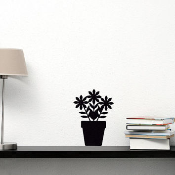 Flowers Velvet Wall Decal - Window Decor - Black Window Decals - Potted Plant Sticker - Office Decor