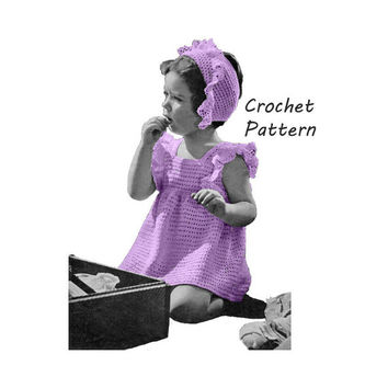Toddler Girl's Dress and Hat Sizes 2 and 3 Crochet Pattern || Vintage 1940's || Reproduction Printed Pattern Traveling LIght 5263
