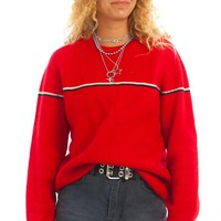 Vintage 80's Red Hot Stripe Sweater - One Size Fits Many