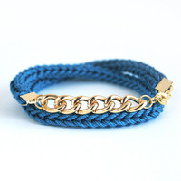 Blue wrap bracelet with chunky chain, dark teal bracelet, bracelet with chain, knit bracelet