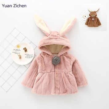 Girls Jacket For Babies New Winter Clothes Rabbit Ears Outerwear Coat Thick Kids Children Clothing With Hooded Winter Coveralls