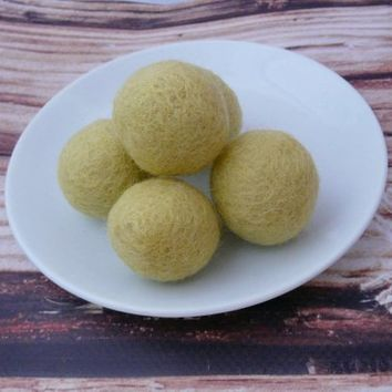 Lime Felt Balls Wool Beads Felted Bead 100% Wool Felt Pom Poms Felted Balls Wool Pompoms Handmade Mother's day gift DIY Garland Mobile