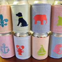 Seersucker Monogrammed Embroidered Critter Preppy Lobster Drink Can Koozie Coozie Cozy Hugger