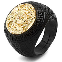 Mens Medusa Black Yellow Gold Ring